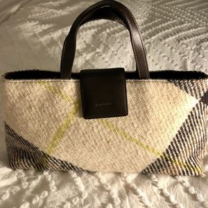 Burberry plaid tweed ivory and brown purse.